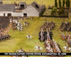 Hundreds of French cavalry charging across the battlefield